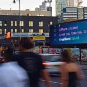 O2's dynamic Crack the Code campaign on City Outdoor's Shoreditch digital screen.